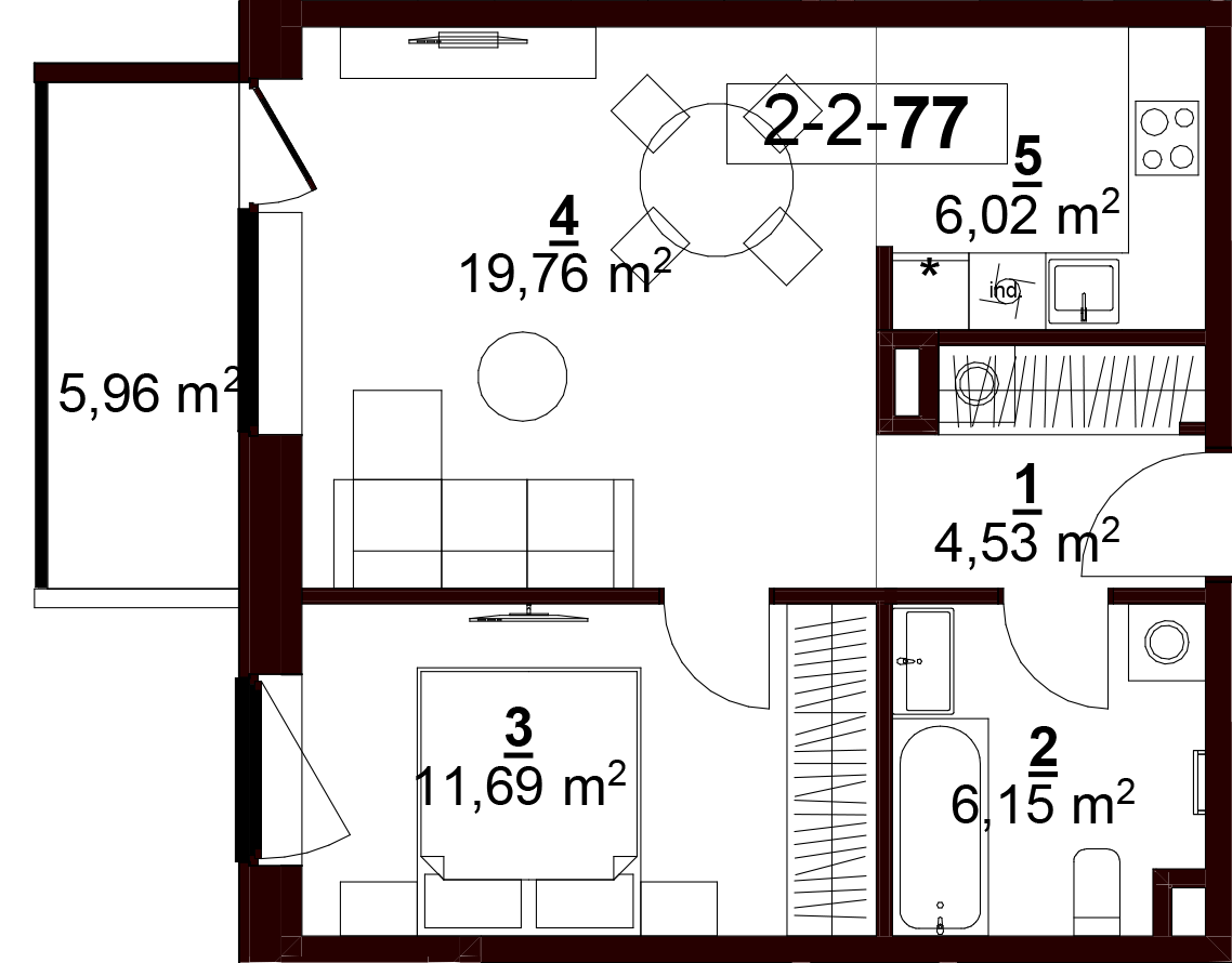 2D buto brėžinys